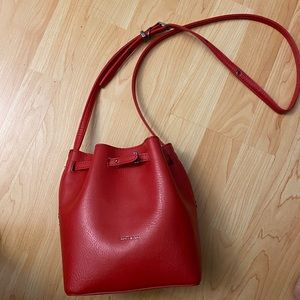 Matt & Natt Red Lexi Began Leather Bucket Bag